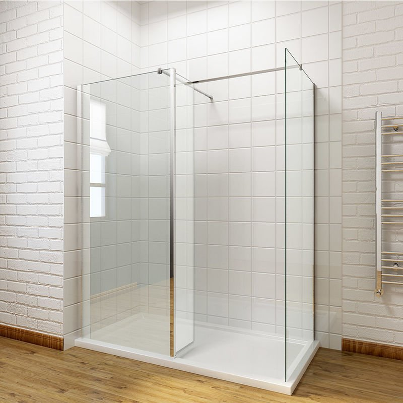Walk In Shower With Flipper Panel.Walk In Shower Enclosure Panel 8mm Easy Clean Glass Wetroom Shower Glass Panel With Stone Tray And 300mm Flipper Panel