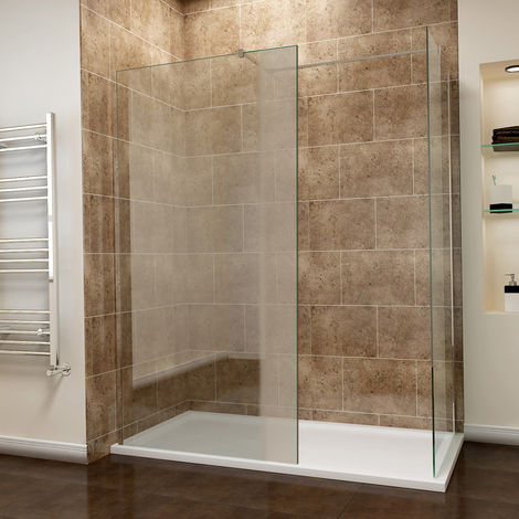 Walk in Shower Enclosure Wetroom Shower Glass Panel with 1700 x 700mm with Stone Tray