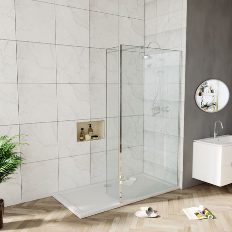 Walk in Shower Screen 6mm Tougheded Safety Wet Room with 300mm Flipper Panel