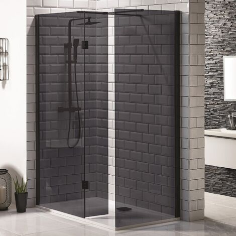 Walk In Wet Room 2 Panel Black Shower Enclosure Bathroom Frameless 900mm Screen