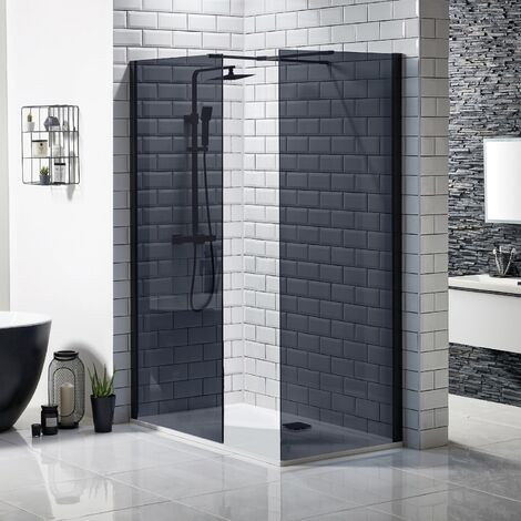 Walk In Wet Room 900 x 700 mm Panel Black Shower Enclosure Bathroom Frameless