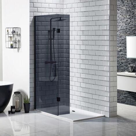 Walk In Wet Room Black Shower Enclosure Frameless 8mm Screen 1200x700 Tray Waste