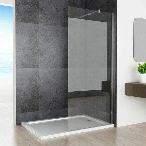 Walk in Wet Room Screen Shower Door Panel Shower Enclosure 8mm Easy Clean Nano Glass with Adjustable Support Bar 1950 mm Height