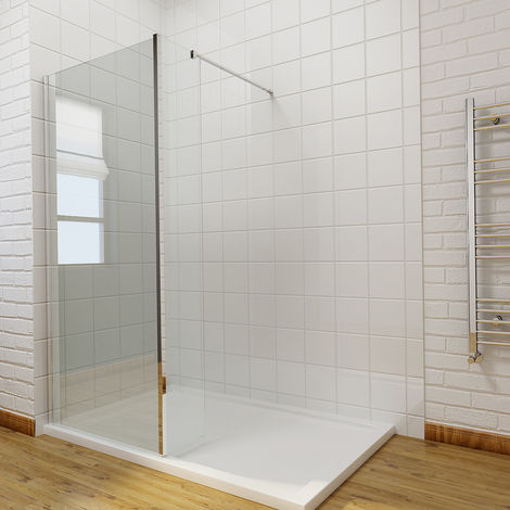 Walk In Wetroom Shower Screen Panel 8mm Easy Clean Glass Shower Enclosure with 300mm Fixed Panel