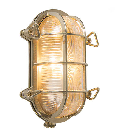 Wall and ceiling light gold 23 / 16.5 cm IP44 - Nautica oval