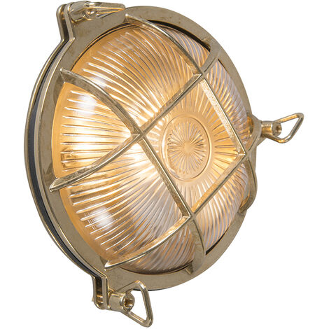Wall and ceiling light gold IP44 - Nautica round