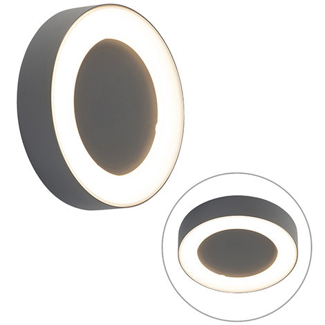 Wall and ceiling light gray round IP54 - Ariel