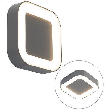 Wall and ceiling light gray square IP54 - Ariel