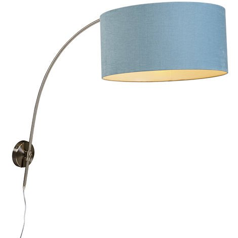 Wall arc lamp steel with shade blue 50/50/25 adjustable
