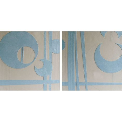 Wall Art,Blue and Cream Suede/Leather Effect,2 Assorted Designs