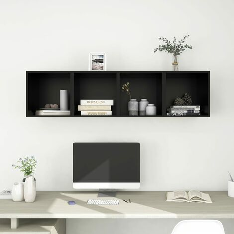 """main image of """"Wall Cabinets 4 pcs Black 37x37x37 cm Chipboard38012-Serial number"""""""