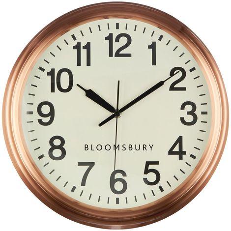 Wall clock, metal, copper finish