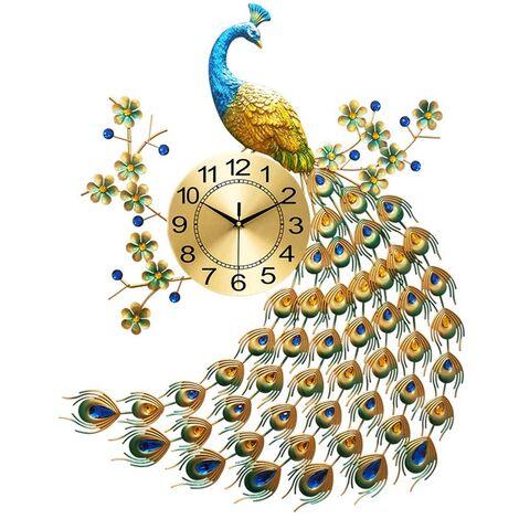 "main image of ""Wall Clock Quartz 3D Crystal Quartz Peacock Art Crafts Without Batteries"""