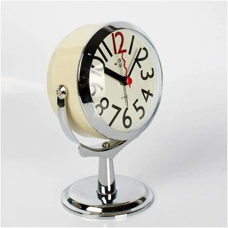 """main image of """"wall clock table clock for living room decor bedroom bathroom small table clocks battery operated analog alarm clock mute not ticking modern simple quartz grandfather clock clock (color: C)"""""""