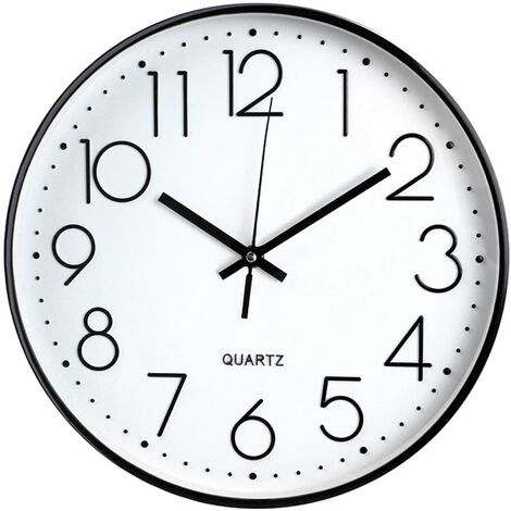 """main image of """"Wall clock without ticking, Modern, silent, Large Black Dial"""""""