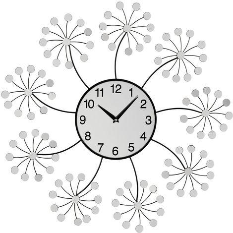 Wall Clock,Mirrored Floret,Metal Frame