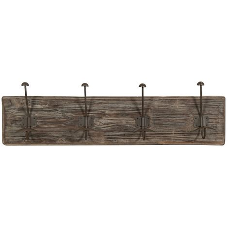 Wall coat hanger, coat hooks wall hanger in wood and iron, coat racks L78xPR10xH21 cm