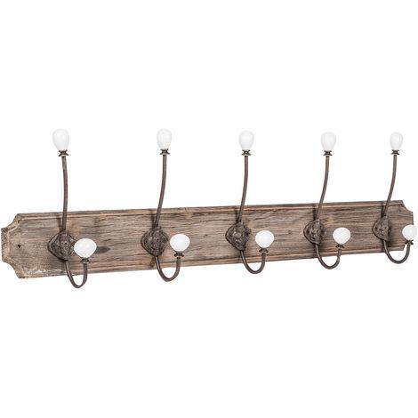 Wall coat hanger, coat hooks wall hanger in wood and iron, coat racks L80xPR10xH21 cm