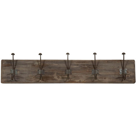 Wall coat hanger, coat hooks wall hanger in wood and iron, coat racks L98xPR10xH21 cm