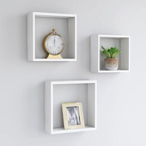 Wall Cube Shelves 3 pcs White MDF