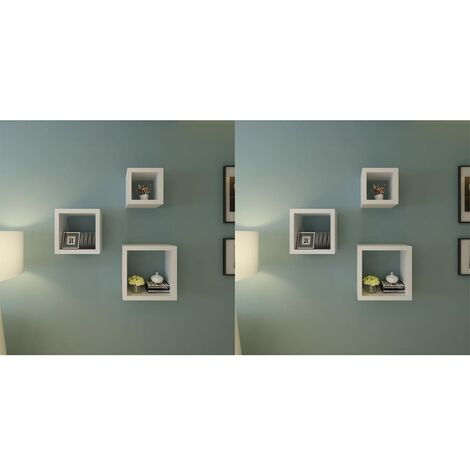 Wall Cube Shelves 6 pcs White