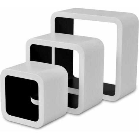 Wall Cube Shelves 6 pcs White and Black