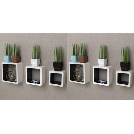 Wall Cube Shelves 6 pcs White and Black - White