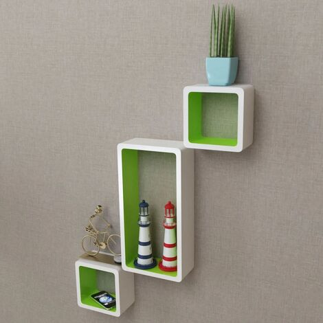 Wall Cube Shelves 6 pcs White and Green - Green