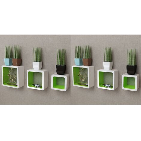 Wall Cube Shelves 6 pcs White and Green - Red