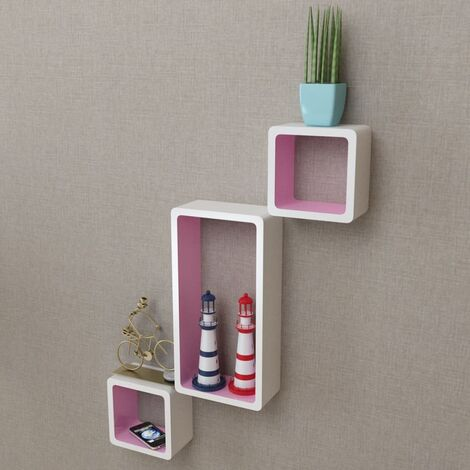 Wall Cube Shelves 6 pcs White and Pink