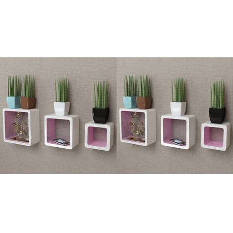 Wall Cube Shelves 6 pcs White and Pink - Pink
