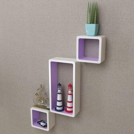 Wall Cube Shelves 6 pcs White and Purple