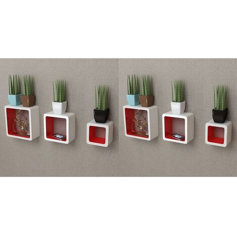 Wall Cube Shelves 6 pcs White and Red