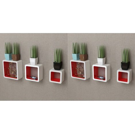 Wall Cube Shelves 6 pcs White and Red - Red