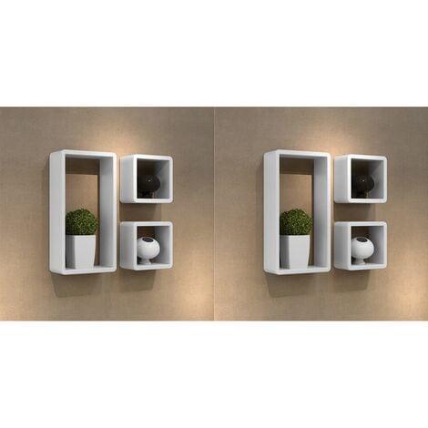 Wall Cube Shelves 6 pcs White - White