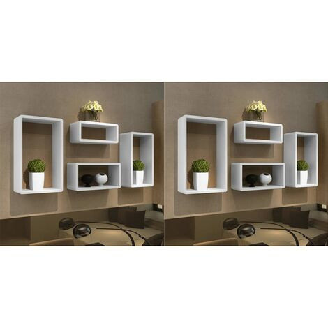 Wall Cube Shelves 8 pcs White