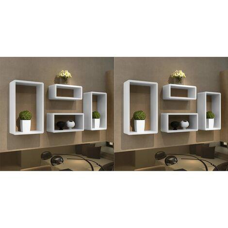 Wall Cube Shelves 8 pcs White - White