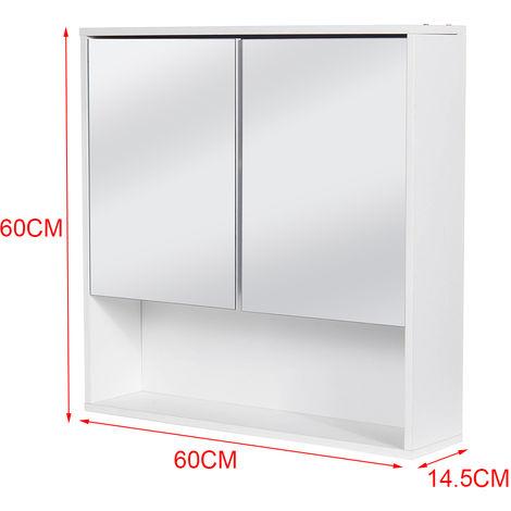 Wall Cupboard Cabinet Furniture Wooden Bathroom Mirror Double Half Storage Door
