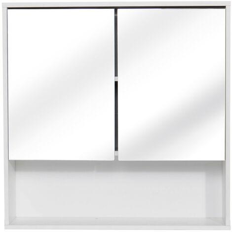 Wall Cupboard Cabinet Furniture Wooden Bathroom Mirror Double Half Storage Door Hasaki