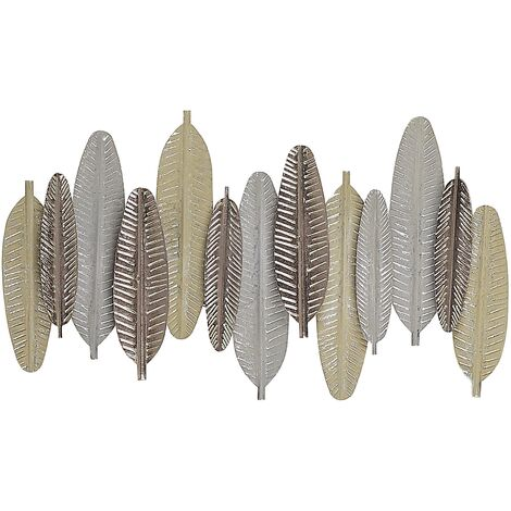 Wall Decor Feathers Living Room Metal Gold and Silver Antimony