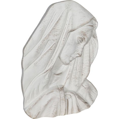 WALL DECORATION MADONNA FACE ANTIQUE WHITE FINISH MADE IN ITALY