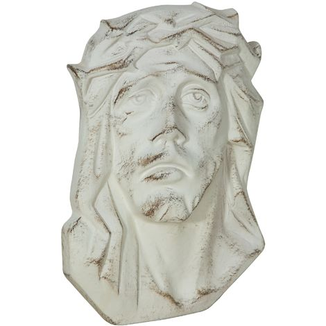 WALL DECORATION REPRESENTING Christ's face WITH ANTIQUED WHITE FINISHING MADE IN ITALY