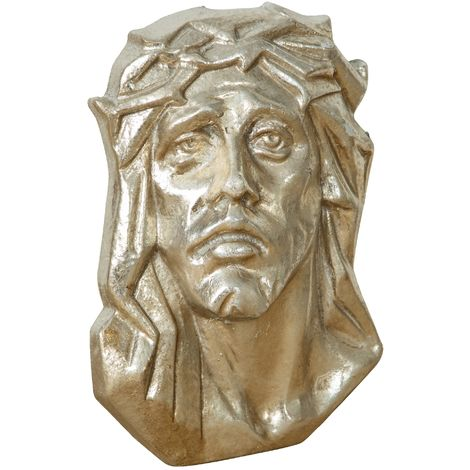 WALL DECORATION REPRESENTING Christ's face WITH SILVER FINISHING MADE IN ITALY