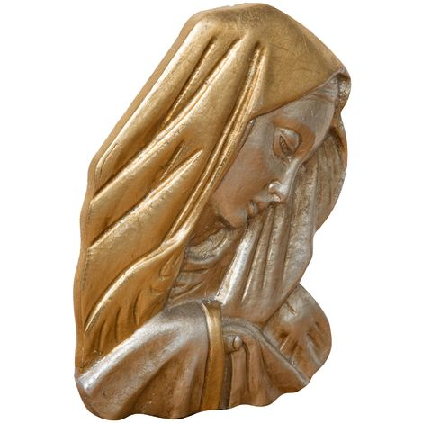 WALL DECORATION representing Virgin Mary's face WITH ANTIQUED GOLD AND SILVER LEAF FINISHING MADE IN ITALY