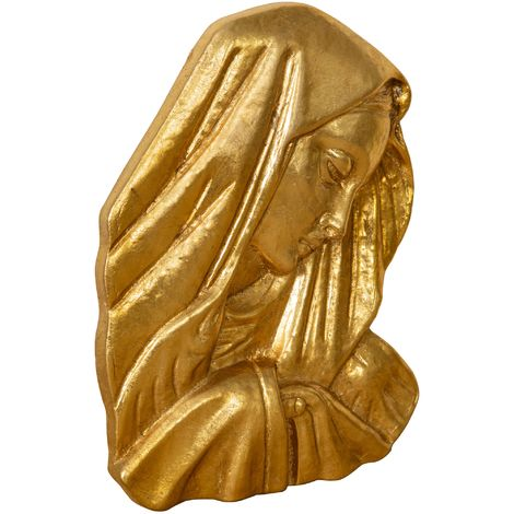WALL DECORATION representing Virgin Mary's face WITH ANTIQUED GOLD LEAF FINISHING MADE IN ITALY