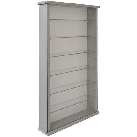Wall Display Cabinet Wood 6 Glass Shelves - Grey