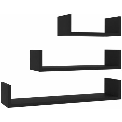 Wall Display Shelf 3 pcs Black Chipboard