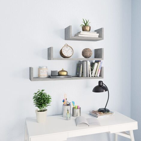 Wall Display Shelf 3 pcs Concrete Grey Chipboard