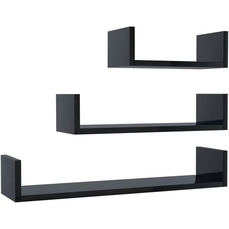 Wall Display Shelf 3 pcs High Gloss Black Chipboard