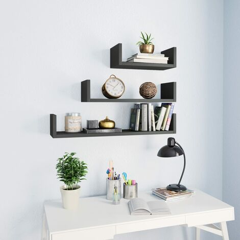 Wall Display Shelf 3 pcs High Gloss Grey Chipboard